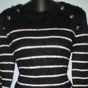 Womens Hairy Striped Long Sleeve